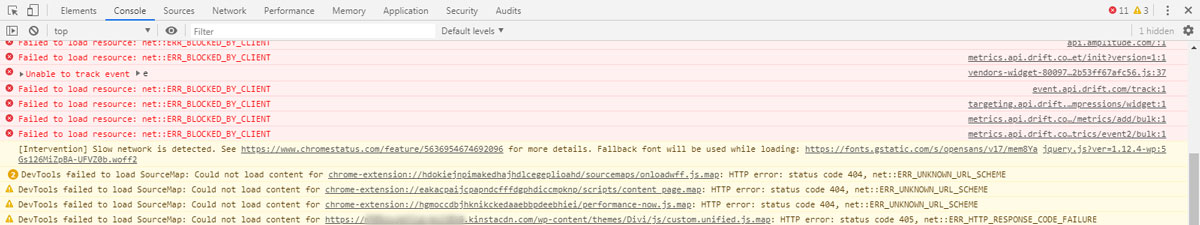 checking plugin errors with browser developers tool
