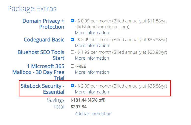 Bluehost Sitelock Security Price