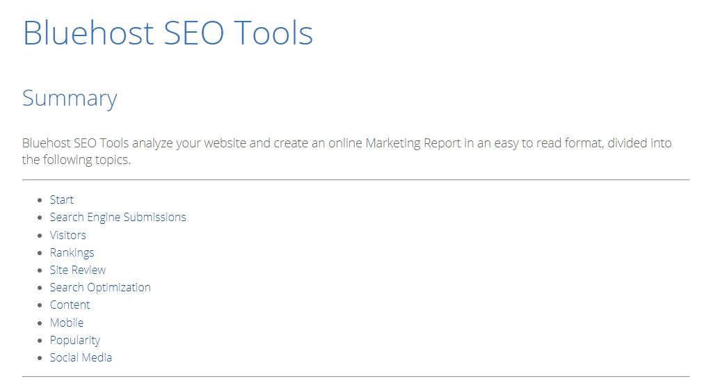 Bluehost SEO Tools Features