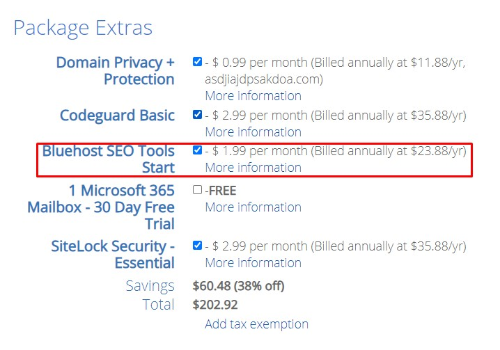 Bluehost SEO Tools Start Package Extras Price