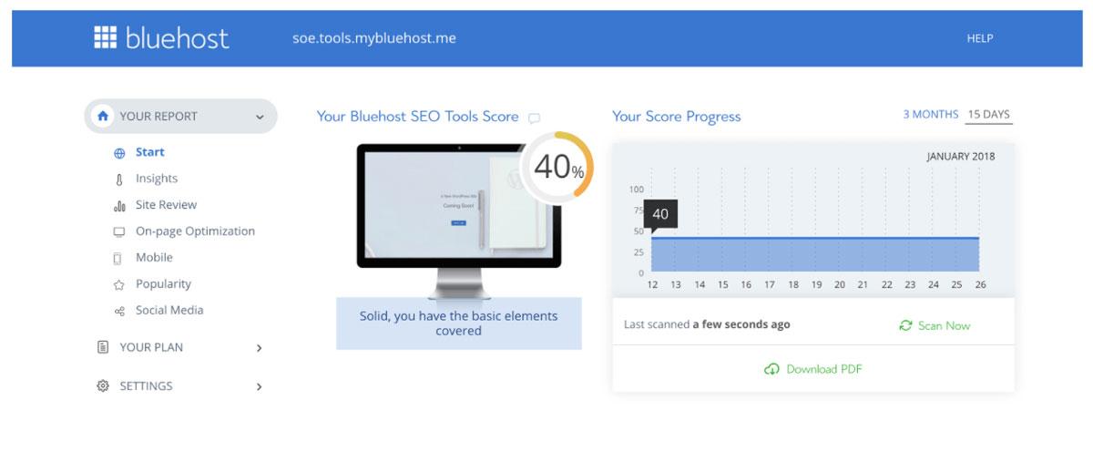 Bluehost SEO tools start score dashboard
