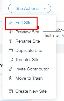 editing panel wix website