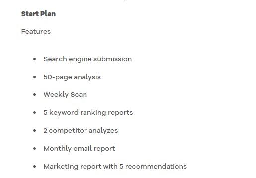 HostGator SEO tools start plan