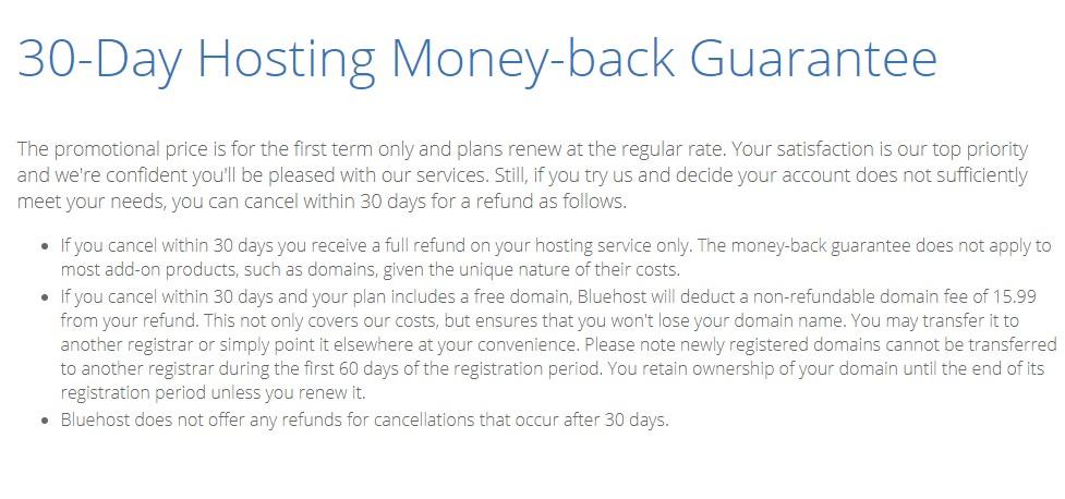 30 day money back guarantee bluehost