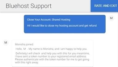 bluehost support refund