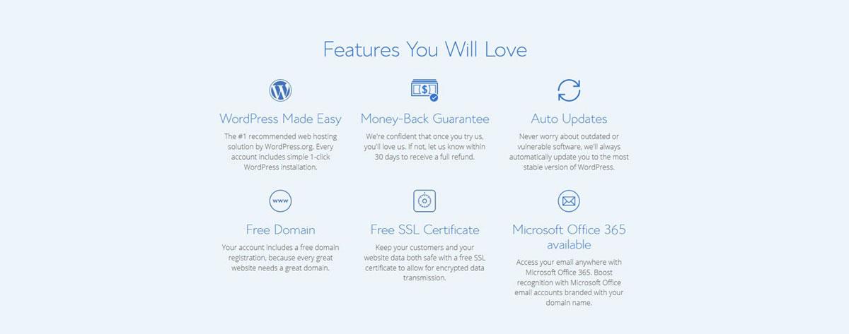 bluehost standard features