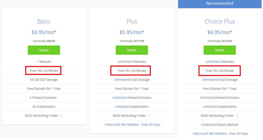 bluehost free ssl certificate wordpress hosting plans