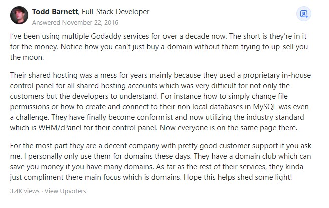 godaddy customer review about upselling