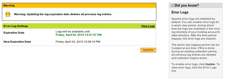 godaddy error logs activation page