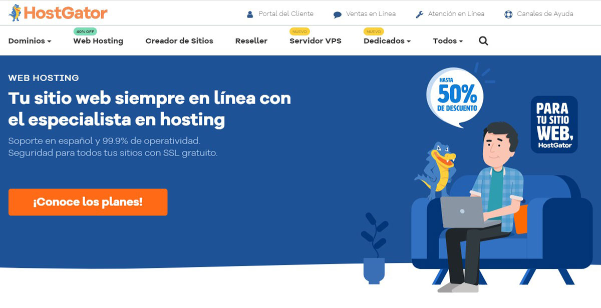 HostGator Colombian Homepage
