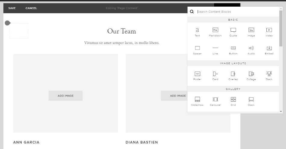 squarespace drag and drop feature