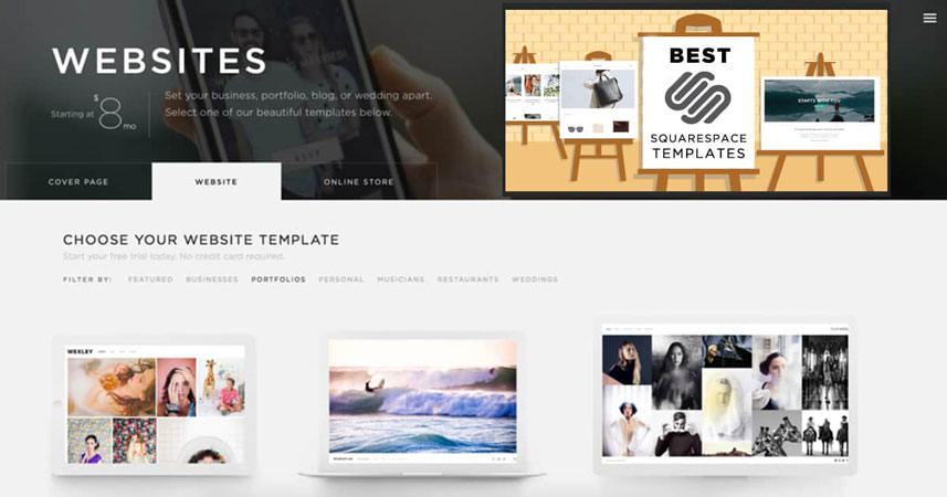 squarespace template options