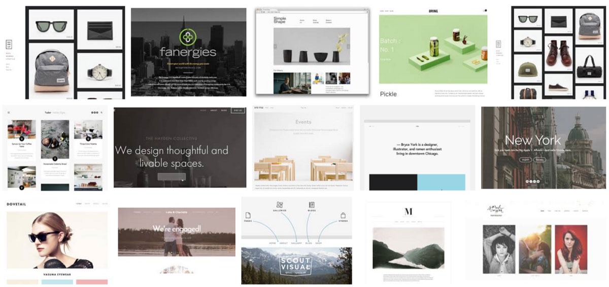 Beautiful templates screenshots of Squarespace