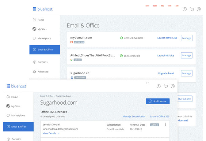 bluehost office 365 dashboard
