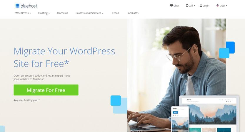 bluehost wordpress site migration
