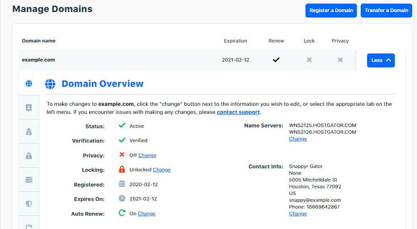 domain overview hostgator