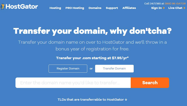 hostgator transfer domain request