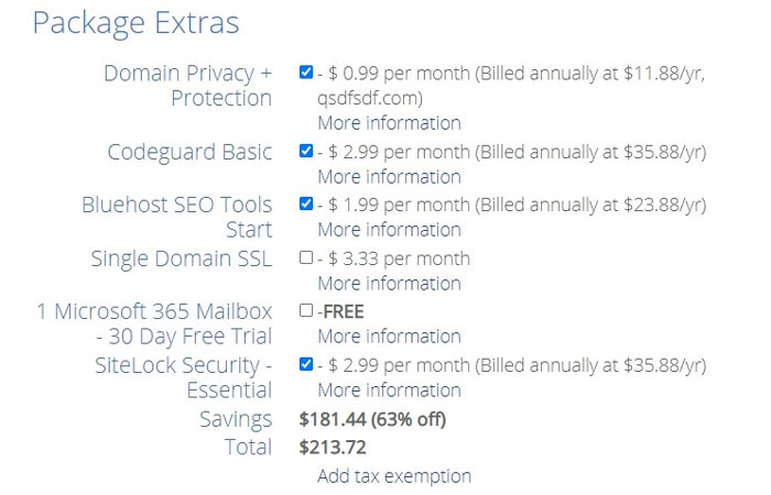 bluehost package extra addons