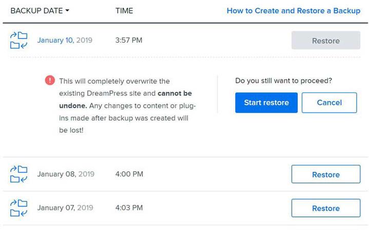 dreamhost restoration backup feature