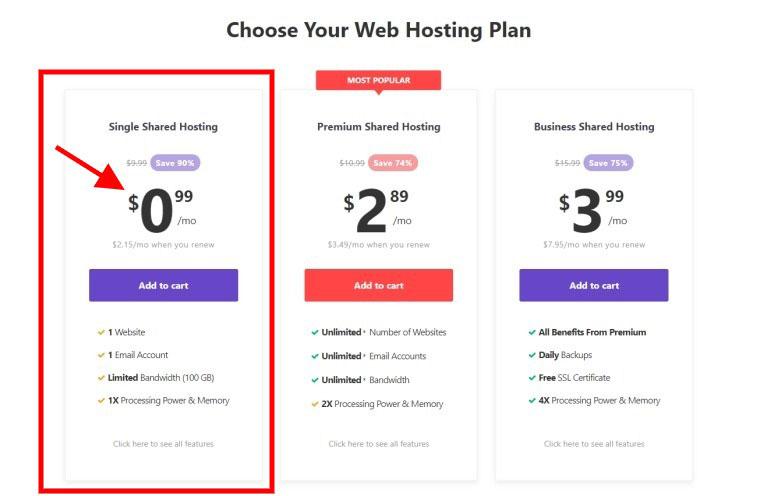 hostinger single shared hosting price