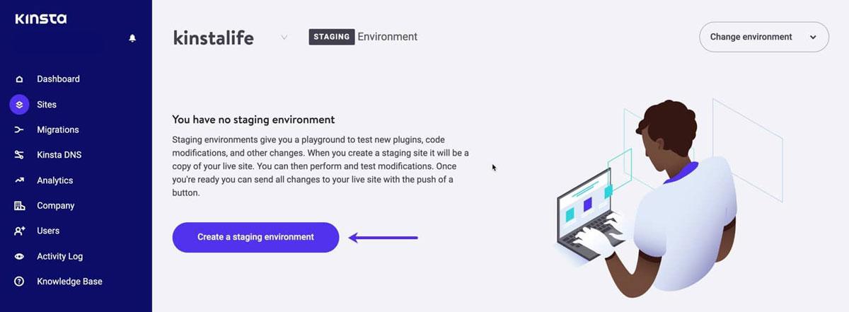 kinsta staging environment dashboard