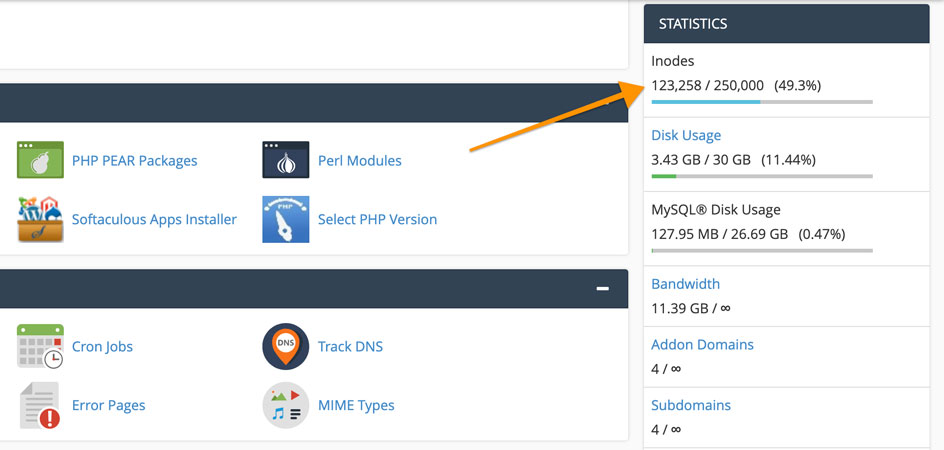 inodes limit representing file usage in cPanel