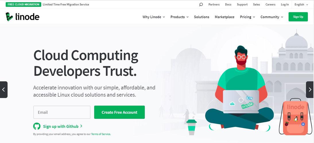 linode cloud computing homepage
