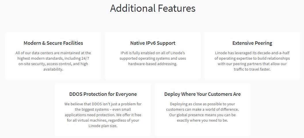 linode server features