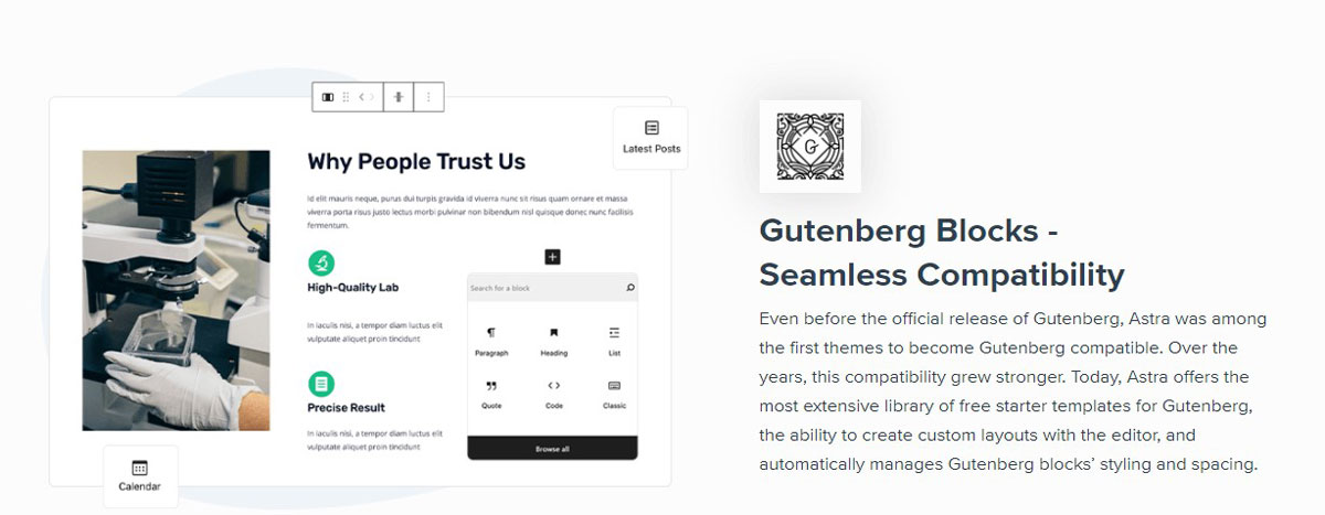 Astra Theme with Guttenberg builder