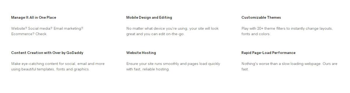 godaddy website builder features