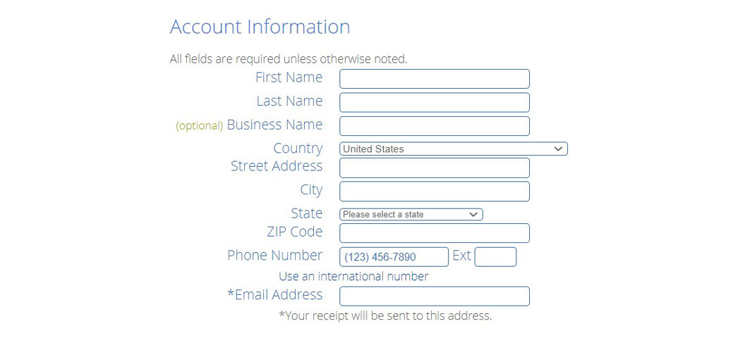 bluehost contact information registration