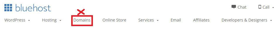 bluehost domains tab menu