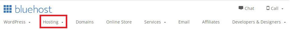 bluehost hosting tab menu