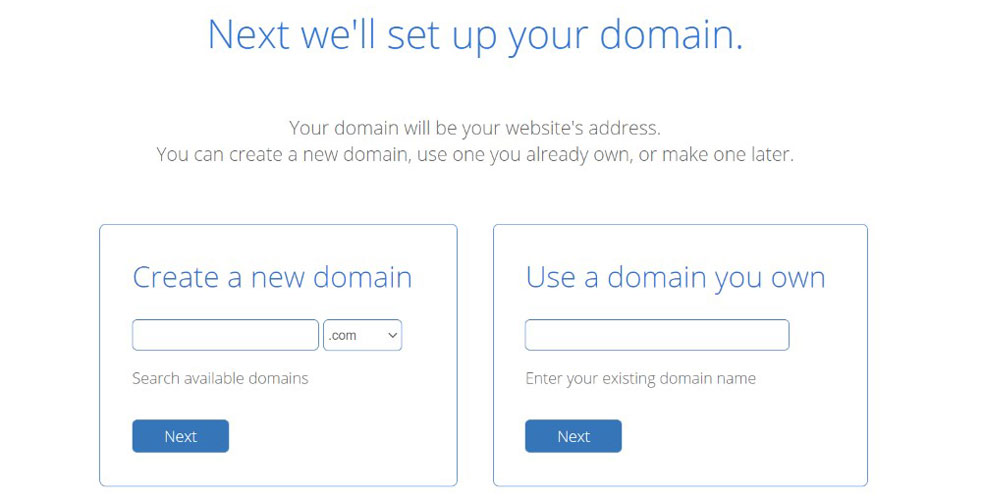 domain setup bluehost signup page