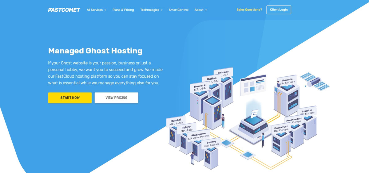 managed ghost hosting in fastcomet