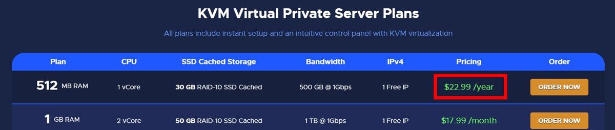 Cheap KVM VPS hosting