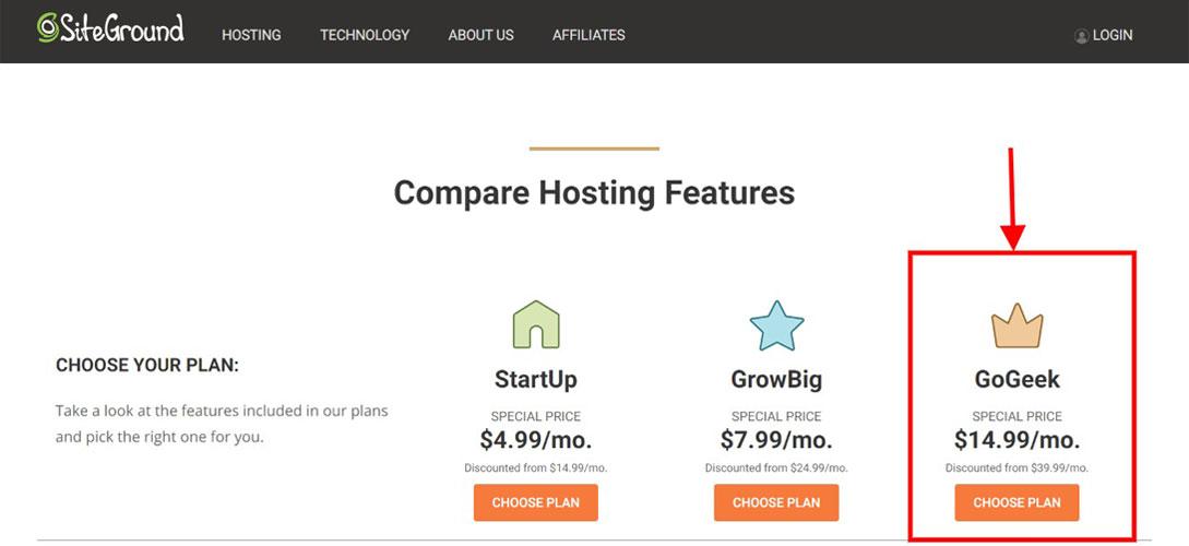 siteground gogeek hosting plan
