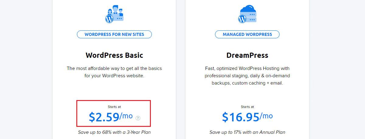 dreamhost wordpress basic price
