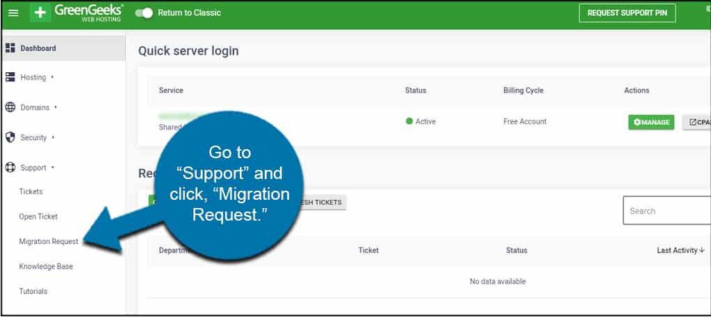 greengeeks migration request