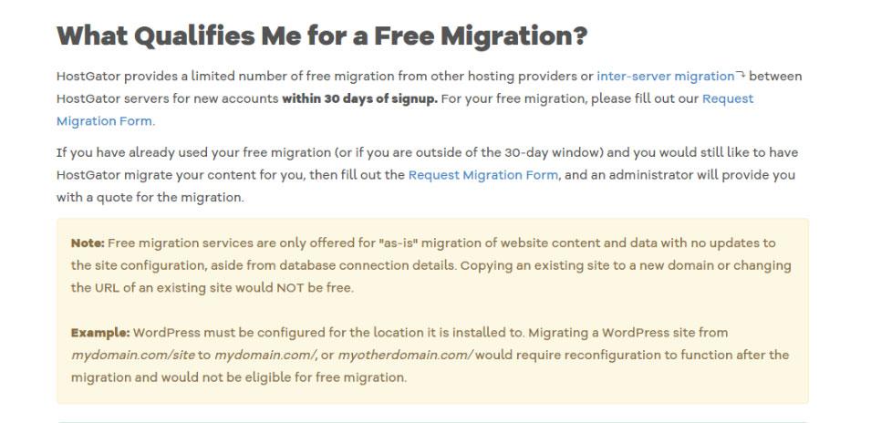 hostgator free migration limitations