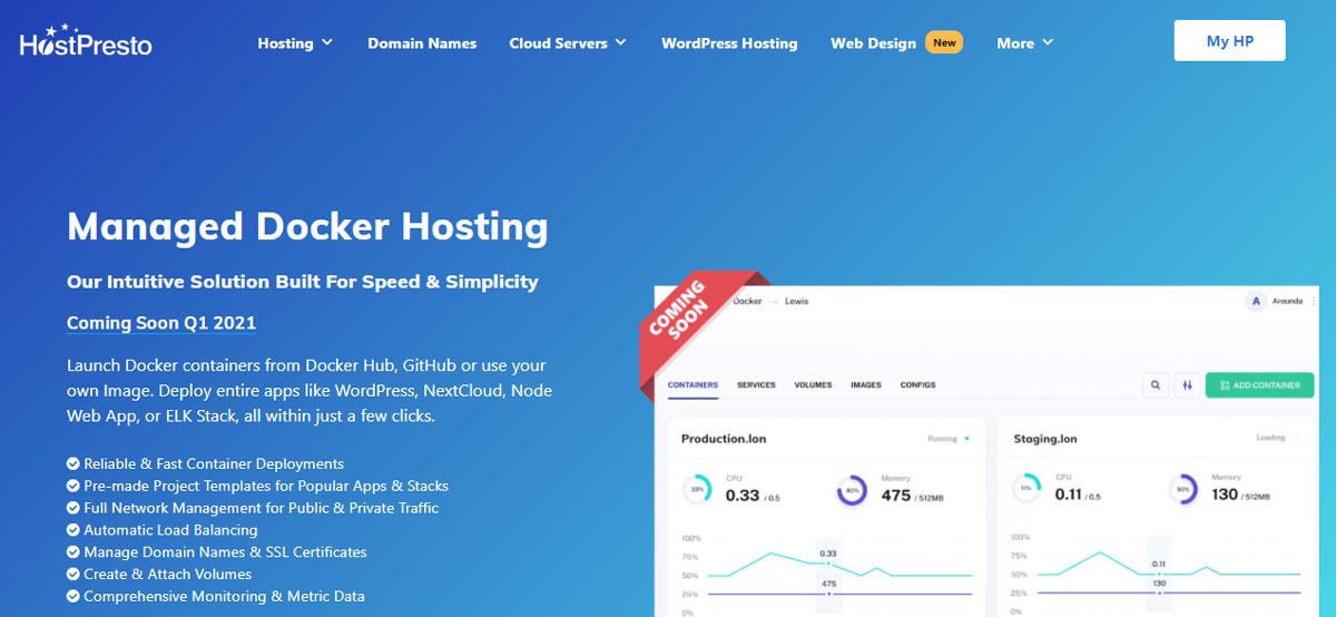 hostpresto managed docker hosting