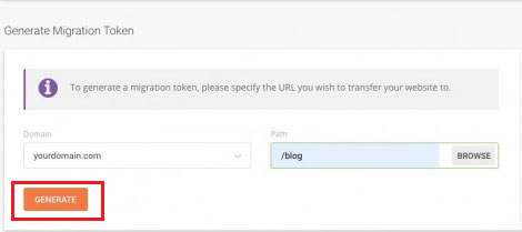 siteground generate migration token