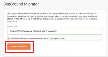siteground migrator initiate transfer